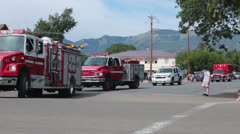 Fire trucks rural parade celebration HD 8529 - stock footage