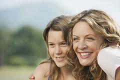 Spain, Mallorca, Mother and daughter (10-11), portrait, close-up Stock Photos