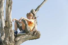 Spain, Mallorca, Boy (8-9) sitting in tree - stock photo
