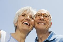 Stock Photo of Senior couple, portrait, low angle view, close-up