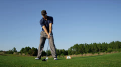 Golfer Practicing Swing Golf Resort Fairway Stock Footage