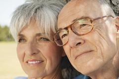 Spain, Mallorca, Senior couple, portrait, close-up - stock photo