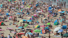 Crowded Beach in Summer Stock Footage