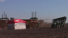 Trailer past cotton modules - stock footage