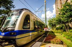 charlotte north carolina light rail transportation moving system - stock photo