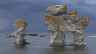 Stock Video Footage of Eroded limestone stacks om the island Faro -Sweden