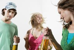 Germany, Berlin, Young people at house party, having fun Stock Photos