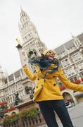 Germany, Bavaria, Munich, Marienplatz, Portrait of a woman, town hall in - stock photo