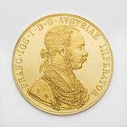 Austrian Ducat, Gold coin, close up - stock photo