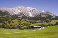 Stock Photo of Austria, Salzburger Land, Dienten, Mountain scenery, Farmsteads