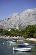 Croatia, Makarska Riviera, Promajna, Beach and mountains - stock photo