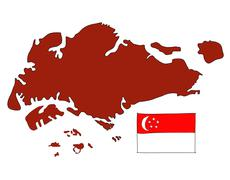 .hand drawn   of flag of singapore Stock Illustration