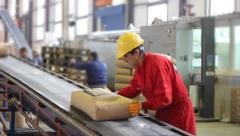 Worker controls sacks of sugar in Warehouse Stock Footage