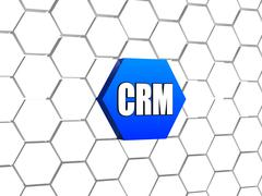 Crm sign in blue hexagon Stock Illustration