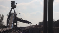 Crane conveyor transporting sugar beet Stock Footage