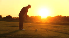 Sunset Silhouette Male Golfer Vacation Resort Stock Footage