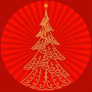 Christmas fir tree on red Stock Illustration