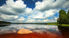 Summer nature, forest lake landscape with sky and clouds, time-lapse. - stock footage