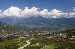 Stock Photo of Italy, South Tyrol, View over Meran, elevated view