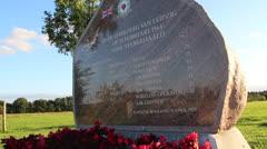 Small World War II memorial for fallen crew Stock Footage
