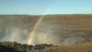 Rainbow above detifoss waterfall in iceland Stock Footage