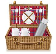 basket for a picnic with tableware - stock illustration