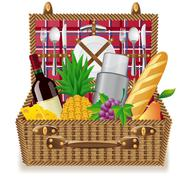basket for a picnic with tableware and foods - stock illustration