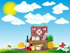 basket for a picnic with tableware and foods on nature - stock illustration