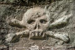 stone skull crossbones - stock photo