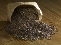 Puy lentils spilling on wooden surface - stock photo