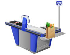Stock Illustration of cash register terminal and shopping bag with foods