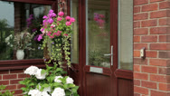 Stock Video Footage of front door and porch of bungalow with hanging basket and shrub