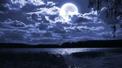 Full moon landscape with forest lake. Stock Footage