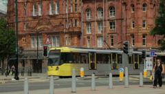 Metrolink tram manchester city centre, england Stock Footage