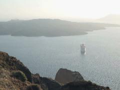 Cruise ship on sea near Santorini island NTSC Stock Footage
