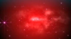 Space fly clouds red Stock Footage