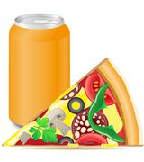 pizza and aluminum cans with soda - stock illustration