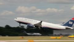 Plane taking off, us airways airbus a330 Stock Footage