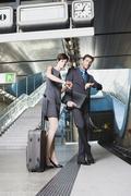 Germany, Bavaria, Munich, Business people waiting for subway on underground Stock Photos