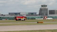 Emergency fire truck at manchester airport Stock Footage