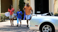 Young African American Luxury Family Car Outing - stock footage