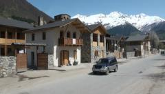 Streets of Mestia in Georgia, South Caucasus Stock Footage