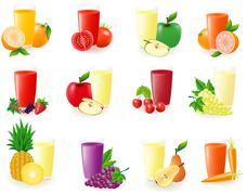 Set of icons with fruit juice illustration Stock Illustration