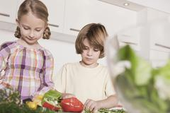Germany, Cologne, Boy and girl (6-7) in kitchen preparing salad, looking down, - stock photo