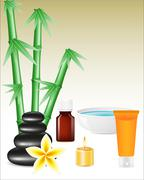 spa zen stones and bamboo - stock illustration
