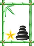 spa zen stones and frame bamboo - stock illustration