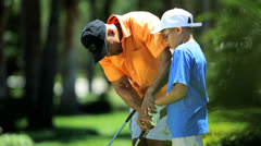 Father Son Healthy Outdoor Lifestyle Golf Practice - stock footage