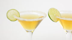 gold tequila with salt and lime - stock footage