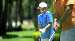 African American Father Son Golf Clubs Stock Footage
