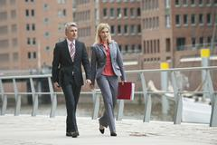 Stock Photo of Germany, Hamburg, Business people at harbour